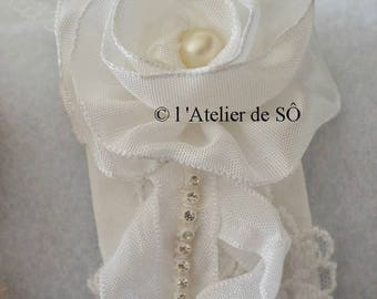 Romantic lace, satin and rhinestone Cuff Bracelet