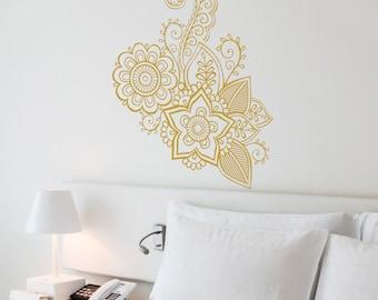 Henna Flower Wall Decal-Nursery Wall Decal-Wall Stickers-Yoga Vinyl Decals-Dorm decor-Boho Vinyl Wall Decal-Nursery Decor