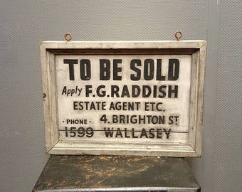 Antique Hand Painted Wooden Advertising Sign Circa 1920