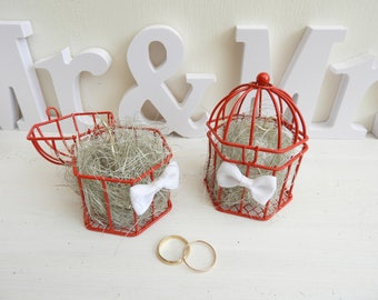Ring bearer for wedding bird cage Red theme