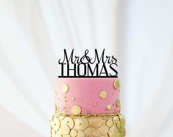 Personalized Wedding Cake Topper, Customized Cake Topper for Wedding, Personalized Custom Wedding Cake Topper, Last Name Cake Topper