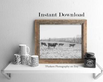 Cow Print; Printable Wall Art; Farm Animal Download; Modern Farmhouse Wall Decor; Instant Downloads; Vintage Wall Art; Country Wall Decor