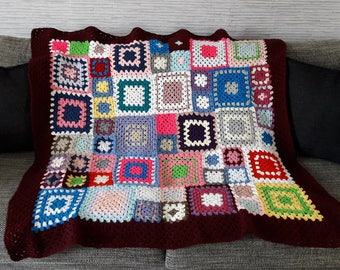 Hand-made couvertuture granny square blanket