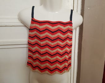 Tank top striped t. 6 years hand knitted