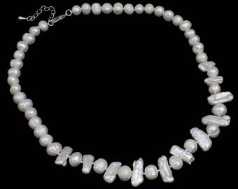 Cream white pearls and Silver 925 Perle necklace