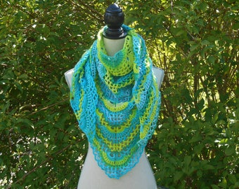 Green and blue crochet shawl