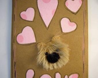 """Carte """"Love"""" pour la Saint-Valentin avec ourson, carte pour dire je t'aime, pièce unique. Made in France"""