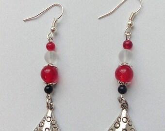 Geek earrings fairy * woodland amanita *-mushroom, fairy, fantasy, nature, cute, kawaii, geek, jade, quartz, tibetan, silver.