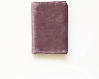Business card holder in purple velvet fabric