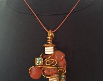 The Brazil orange agate pendant
