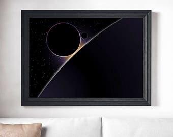 Planets Horizon, Space Print, Galaxy Illustration, Stars Space Poster, Flat Art, Space Art, Universe Poster, Galaxy Print, Space Poster