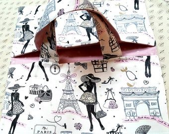Pie bag Eiffel Tower Paris, women gift, practical, fabric polka dot patterned gift idea