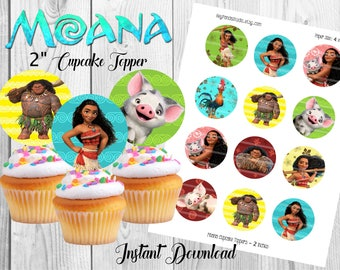 Moana Printable Cupcake Toppers - 2 Inches - Moana Party Printable / Prints - Moana Vaiana Party Supplies