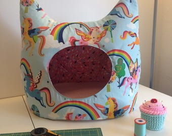 Unicorn Cat Bed - Made to order Cat Caves - Statement Piece Home Decor
