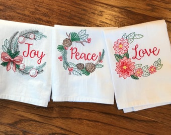 Christmas tea towels, great Christmas gift, hostess gift, 1,2 or all 3, dish towel, kitchen towels, embroidered tea towel, towel