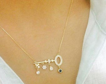Gold Necklace, Hand-made Gold Key Necklace Available in 14k Gold, White Gold or Rose Gold
