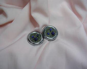 """Clip on earrings with precious drill """"Lapis Lazuli and Pyrite"""" stones"""