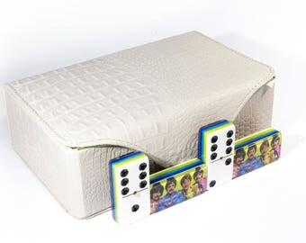 The Beatles Jumbo Domino Double Six, 5 Coats 100% Acrylic. Deluxe Leather Case
