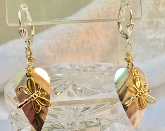 14K filled dragon fly on Silver plated leaf earrings