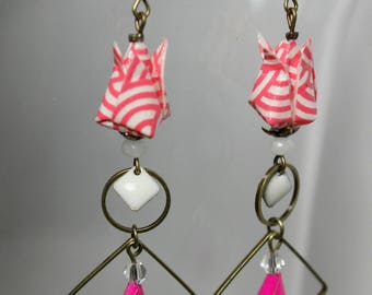 Pink and white origami lotus flower earrings