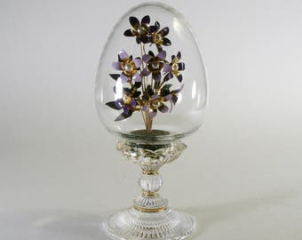 Faberge glass egg with enamel flowers, Franklin Mint collectible egg, Clear etched glass egg, Vintage Faberge egg
