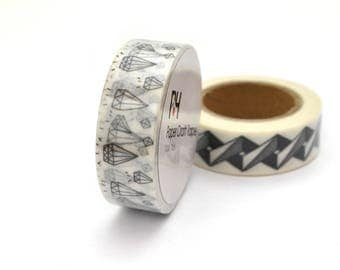 10 m Washi tape 15mm white and black diamond.