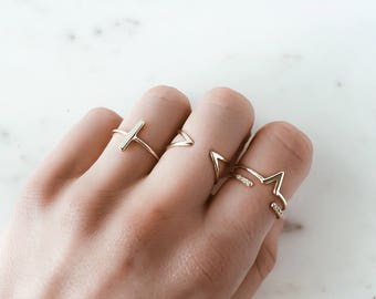 Open stacking ring - stacking ring - Gold delicate ring - delicate ring - minimalist jewelry - gold ring - Dainty jewelry - R011