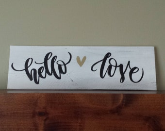 Hello Love Wood Sign Hand Made Reclaimed Pallet Wood Sign Love and Heart Handmade Rustic Wall Art Valentine's Wedding Housewarming Gift