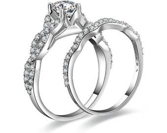 2Pc Infinity Sterling Silver Wedding Engagement Rings Set Women Size 4-11 Ss1937