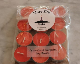 It's the Great Pumpkin, Izzy Brown 100% Soy Tea Lights Pack of 12