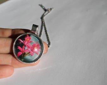 Pink Flowers Photo Pendant Necklace