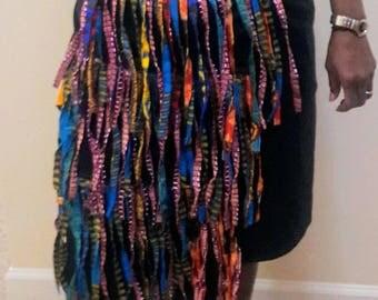 Wrap African print fringe skirt