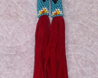 Native American Beaded Red Leather Brick Stitch Earrings