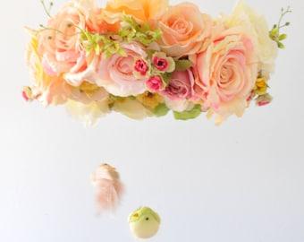 Flower mobile, Floral mobile, Floral Chandelier, bird, decoration, chandelier,decoration, Nursery Mobile,Rose Baby Gift, Wedding chandelier