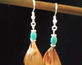Pheasant Feathers and Turquoise Earrings