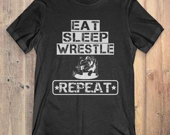 Wrestling T-Shirt Gift: Eat Sleep Wrestle Repeat