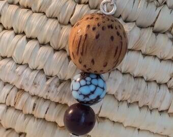Wooden earrings - three beads