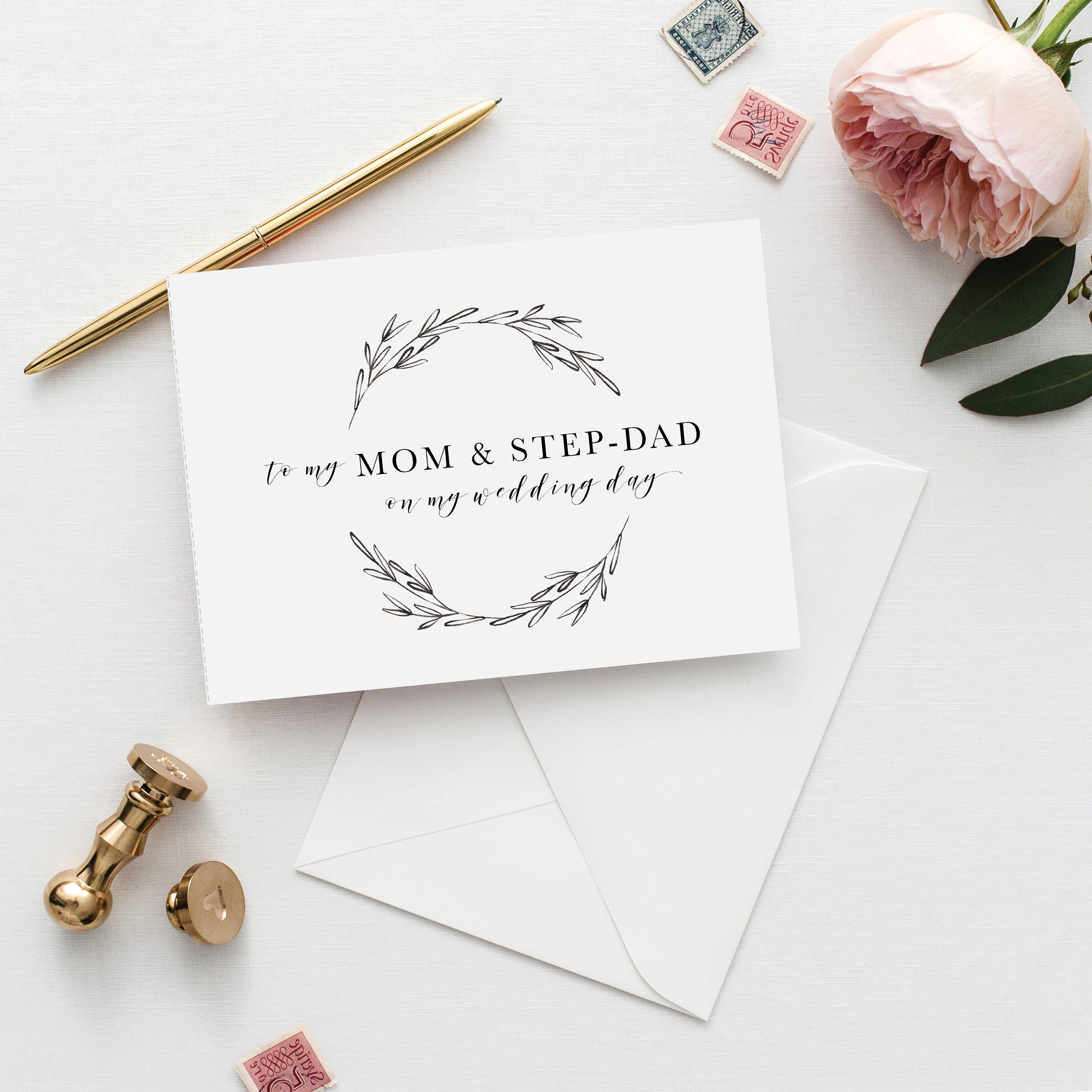 Printable 5x7 To My Mom And Step Dad Card To My Mum And Step Dad