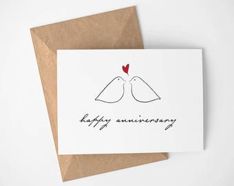 Happy Anniversary Card | Love Birds - Anniversary - Made for Love - Greeting Card