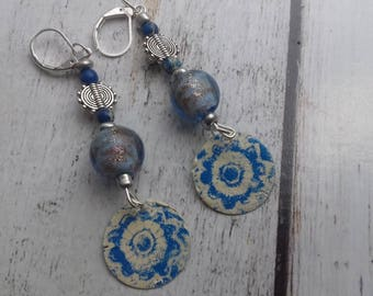 Let's go, enameled brass pearl beads and Lampwork Glass earrings