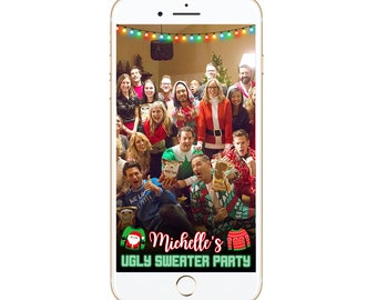 Merry Christmas Snapchat Geofilter ugly sweater filter holidays customized custom personalize xmas holiday it's lit holiday lights jolly af