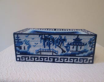 Blue Meadows Needlepoint Tissue Box Cover