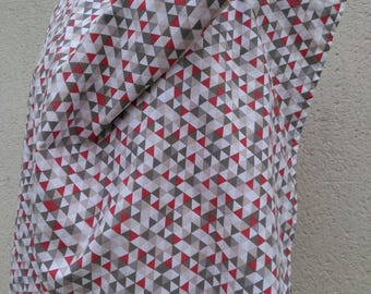 reversible nursing apron, graphic and cherry red