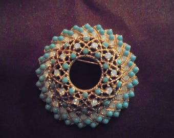 Vintage Sarah Coventry Brooch with Turquiose Blue Beads and Opalescent Rhinestones