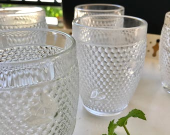 Williams Sonoma Bee Pressed Glass Tumblers Set of 6