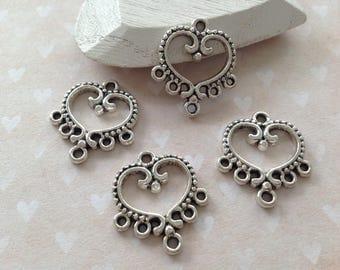 chandelier 5 silver metal heart 20 mm x 18 mm
