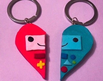 His and Hers BMO adventure time keychain