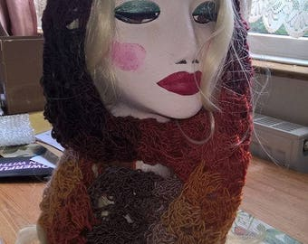 Gorgeous hand crocheted hijab / eternity scarf in browns and oranges