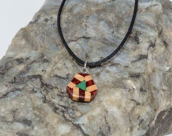 Wood Pendant with Malachite Inlay,  Triangular Shaped Wood Matrix, Reversible Pendant