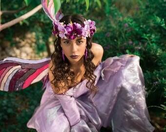purple silk flower crown